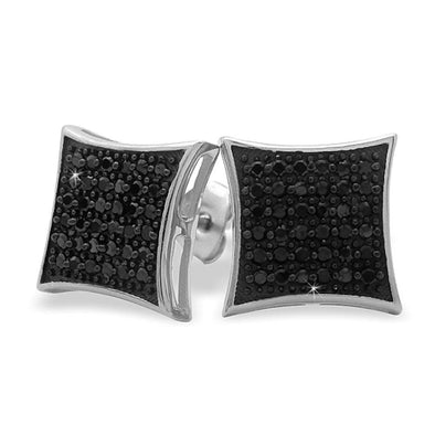 Medium Puffed Kite Black CZ Micro Pave Earrings .925 Silver