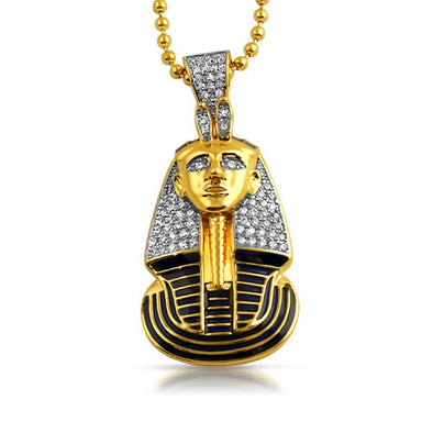 Gold Egyptian Pharaoh Detailed CZ Pendant