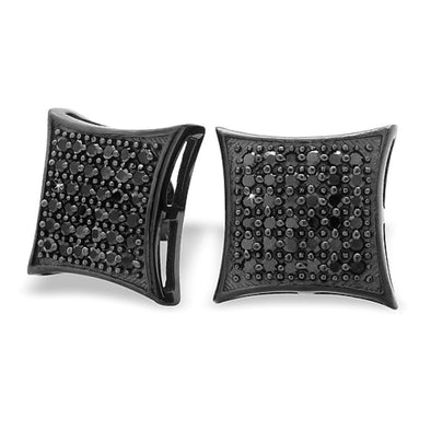 All Black XL Puffed Kite CZ Micro Pave Earrings .925 Silver