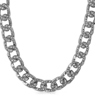 Hip Hop Cuban Bling Bling Chain Rhodium