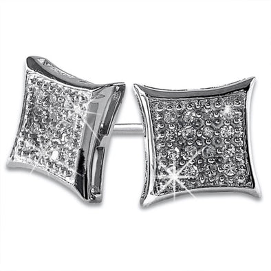 Kite 32 Stones CZ Micro Pave Earrings .925 Silver