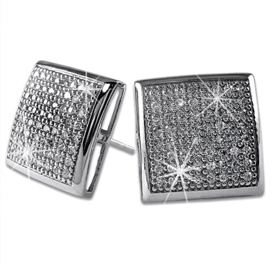 XXL CZ Puffed Box Micro Pave Earrings .925 Silver