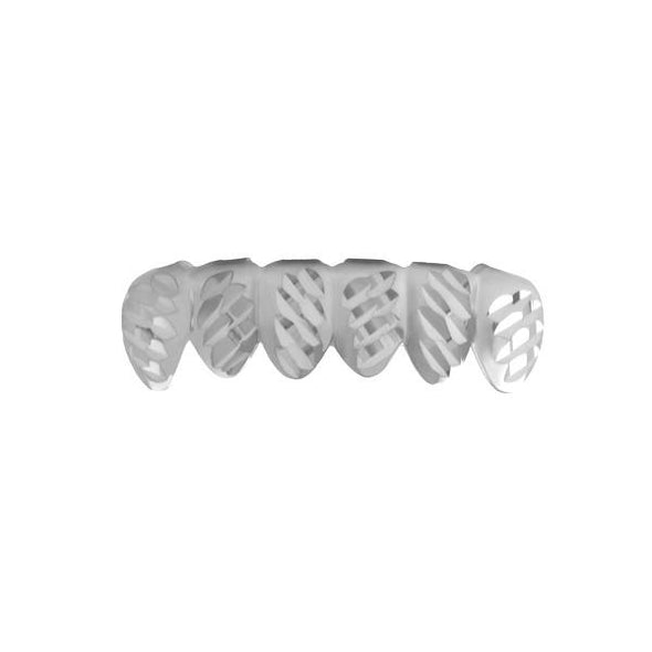 Grillz Rhodium Diagonal Diamond Cut Bottom