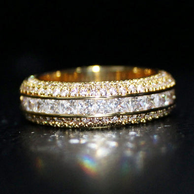.925 Silver Princess Cut Channel Set CZ Eternity Band Ring in Gold