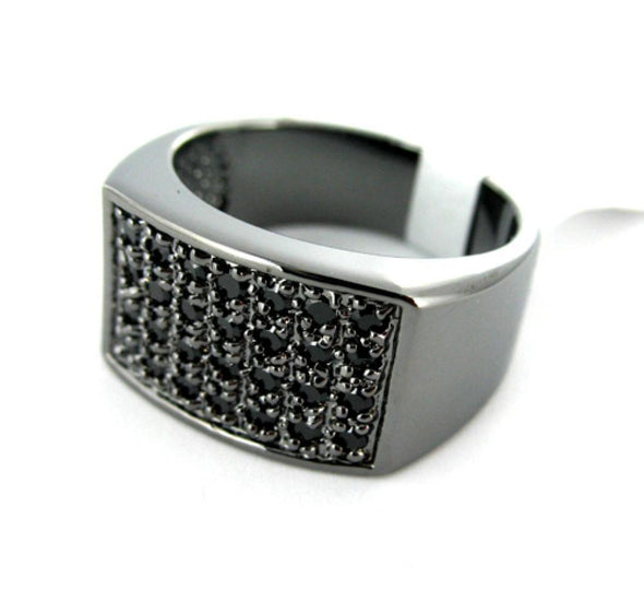 Classic Mens CZ Black on Black Ring