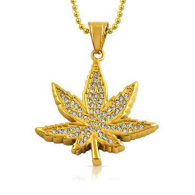 Marijuana Leaf Pendant Gold Steel