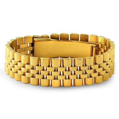 Gold Steel Jubilee Polished Hip Hop Bracelet