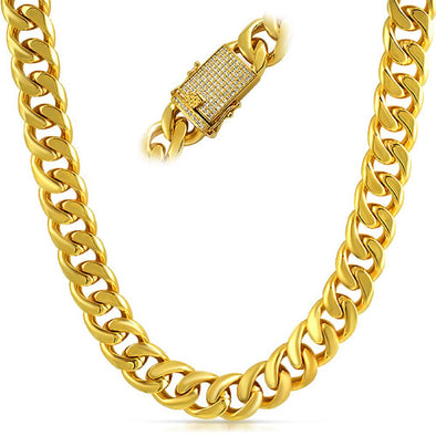 CZ Clasp 15MM Thick Cuban Chain Polished Gold (24 in)