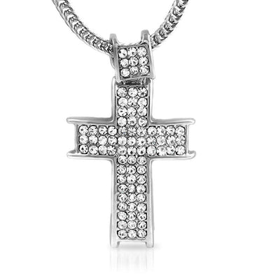 Rhodium Channel Ice Cross  Chain Small