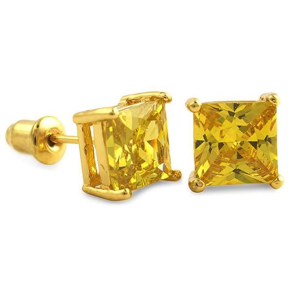 Yellow CZ Diamond Square Stud Earrings Gold (DOZEN PAIRS)