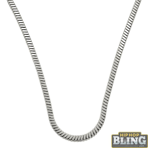Square Snake 4MM Rhodium Hip Hop Chain