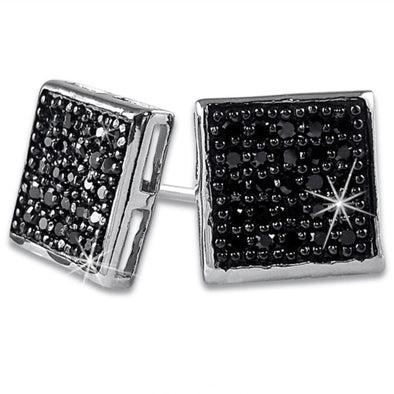 Medium Box Black CZ Micro Pave Earrings .925 Silver