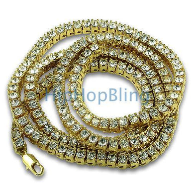 Gold Totally Bling Bling 1 Row Tennis Chain