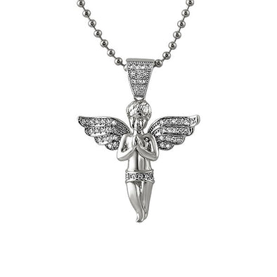 Micro Angel Praying Rhodium CZ Pendant