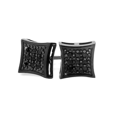 All Black Small Kite Silver CZ Micro Pave Earrings