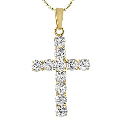Large 8MM CZ Cross Gold Stainless Steel