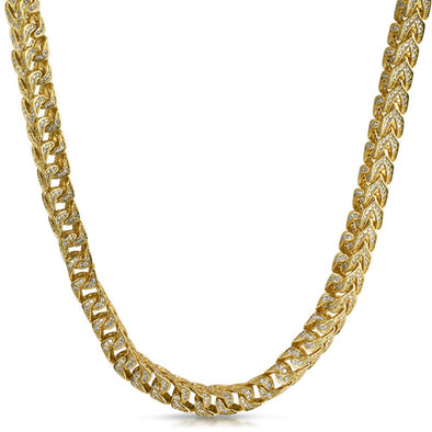 Franco CZ 8MM Wide Gold Bling Bling Chain (20 in)