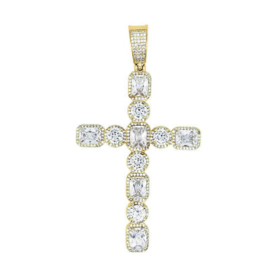 Emerald Cut Round Cut Bling Bling Gold Cross