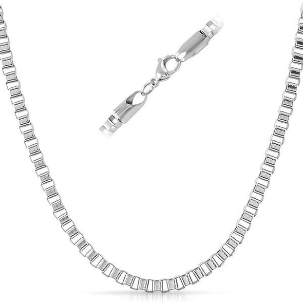 Box Stainless Steel Chain Necklace 4MM