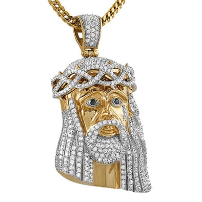 Gold Steel CZ Jesus Pendant Large