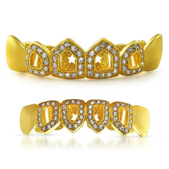 Polished 4 Open Tooth Bling CZ Gold Grillz Set