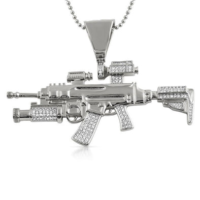 CZ Military Machine Gun Jewelry Pendant Rhodium