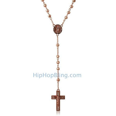 Hip Hop Rosary Necklace Rose