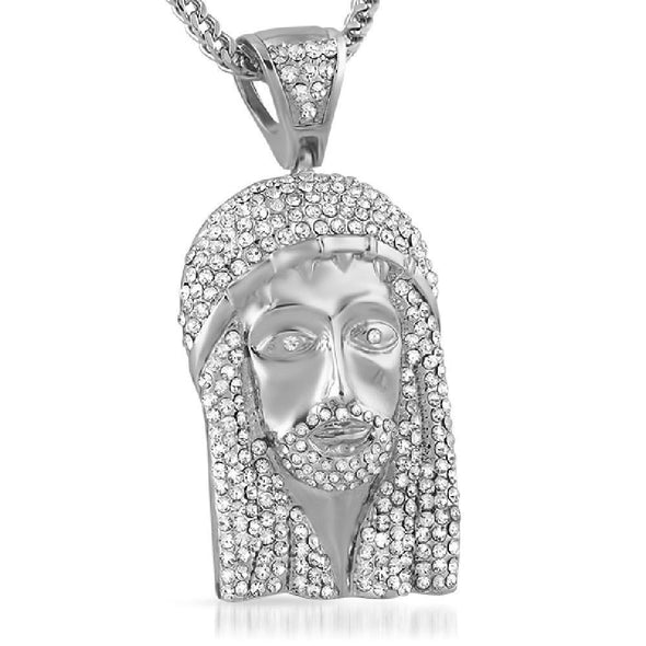 Rhodium Totally Iced Out Jesus Piece