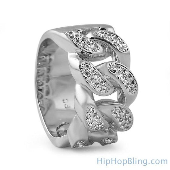 .925 Sterling Silver Cuban Link Bling Bling CZ Ring