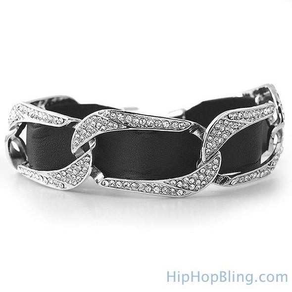 Bling Bling Cuban Black Leather Bracelet