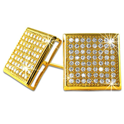 XXL Box Gold Vermeil CZ Micro Pave Earrings .925 Silver