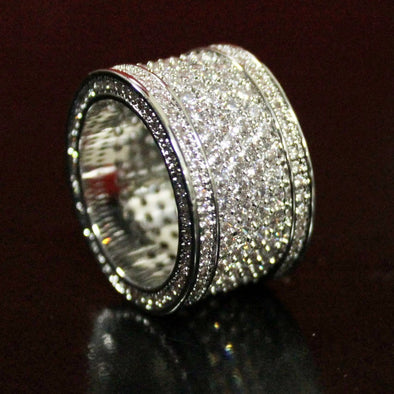 .925 Silver Fat 6 Row Eternity Bling Bling CZ Ring in Rhodium