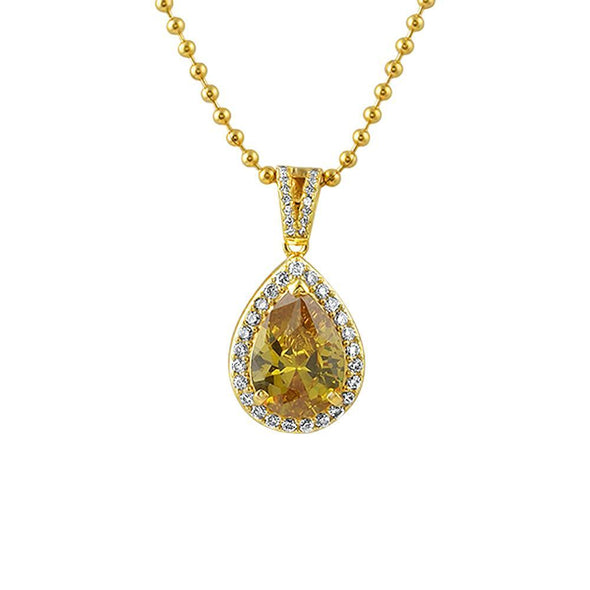 Pear Cut Faux Canary Diamond Gold CZ Pendant