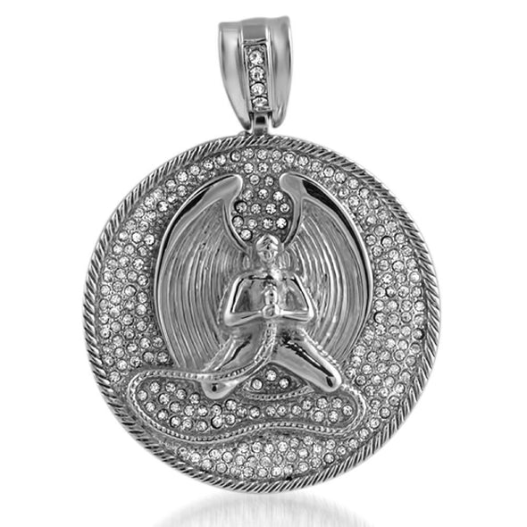 Angel Rhodium Medallion