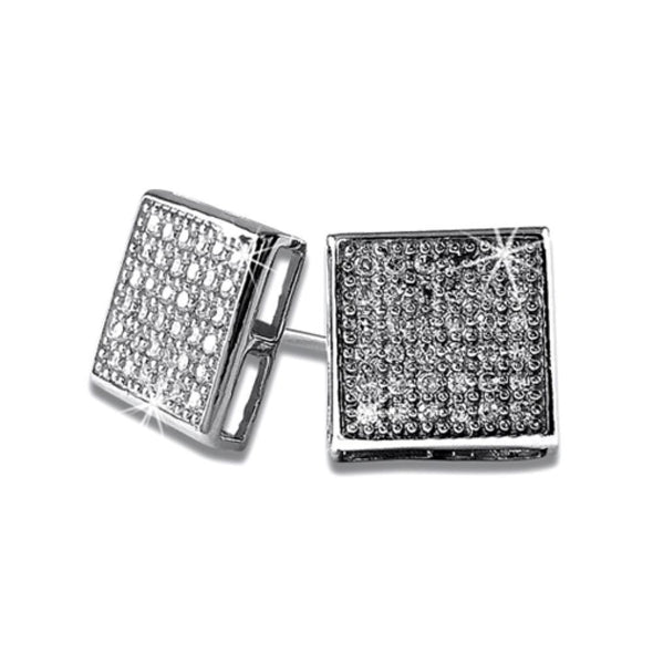 Large Box CZ Micro Pave Earrings .925 Silver