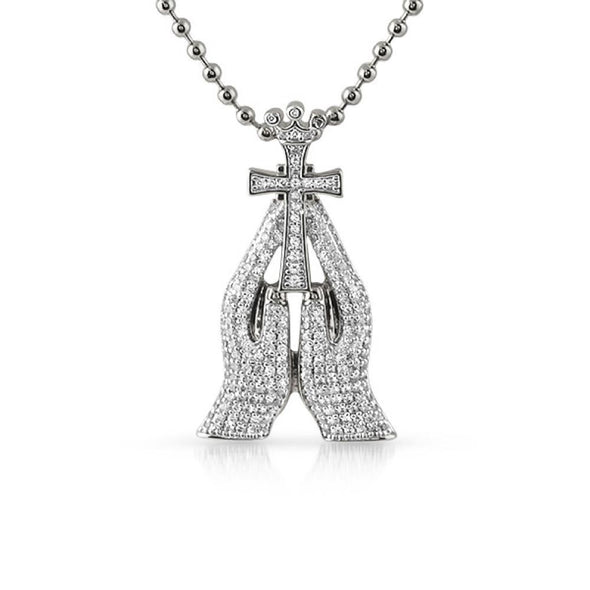 CZ Christian Prayer Hands Cross Rhodium Mini Pendant