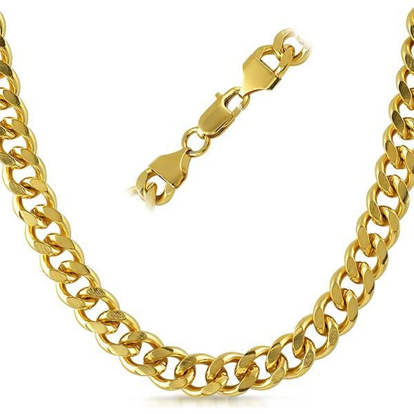 Cuban IP Gold Stainless Steel Chain Necklace 10MM
