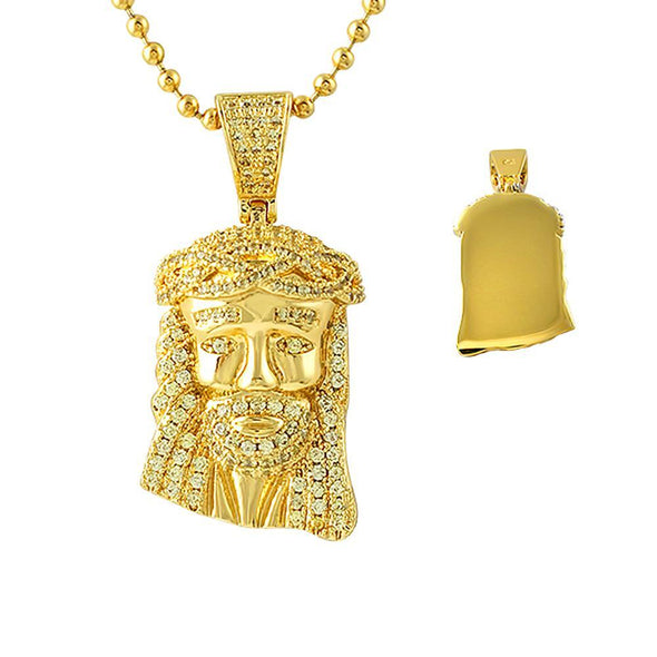 CZ Canary Gold Gold Micro Jesus Pendant