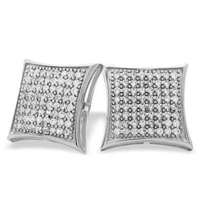 XXL Puffed Kite CZ Micro Pave Earrings .925 Silver