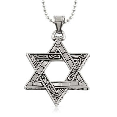 Jewish Star of David Fancy Pendant Stainless Steel