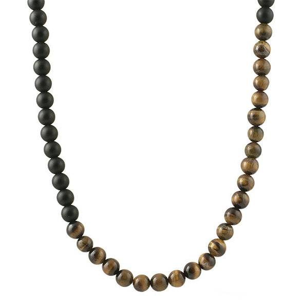 Tiger Eye and Black Beads Chain Necklace