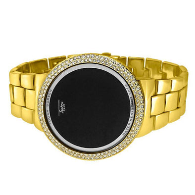 Bling Bling Gold LED Touch Screen Metal Band Watch