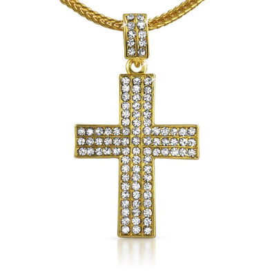 Triple Gold Cross  Chain Small