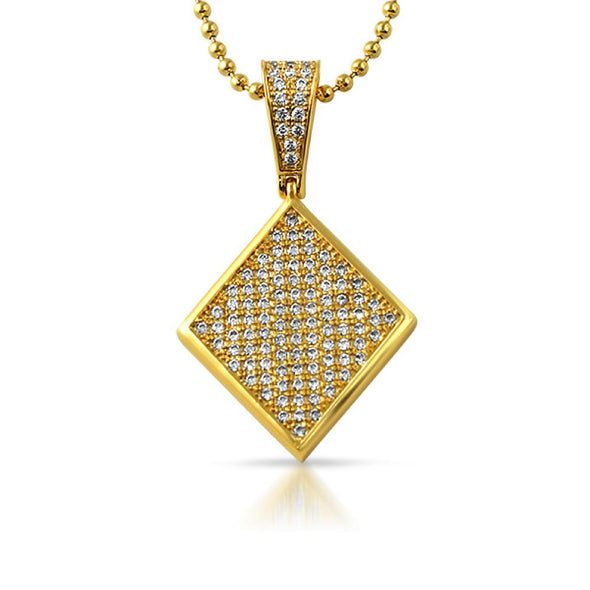 Poker Diamond CZ Gold Pendant