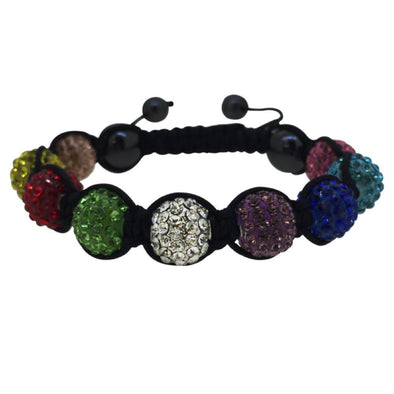 Multi Color 10MM Black Rope Disco Ball Bracelet