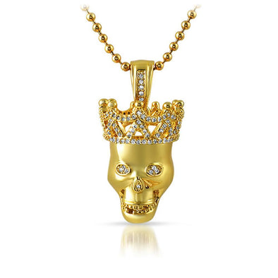 Gold Skull Polished with 3D CZ Crown Pendant