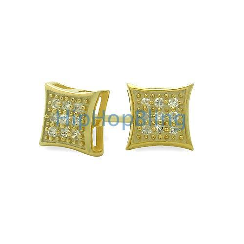 Small Puffed Kite Gold Vermeil CZ Micro Pave Earrings .925 Silver