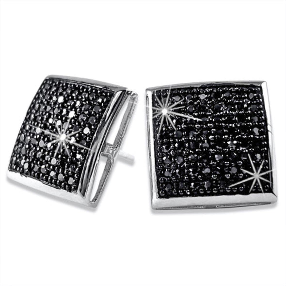 XXL Black CZ Puffed Box Micro Pave Earrings .925 Silver