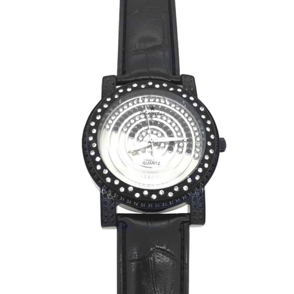 Black Black White Floating Dial Watch