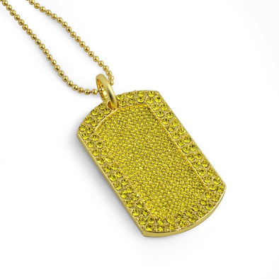 Full Stone Dog Tag and Chain Lemonade